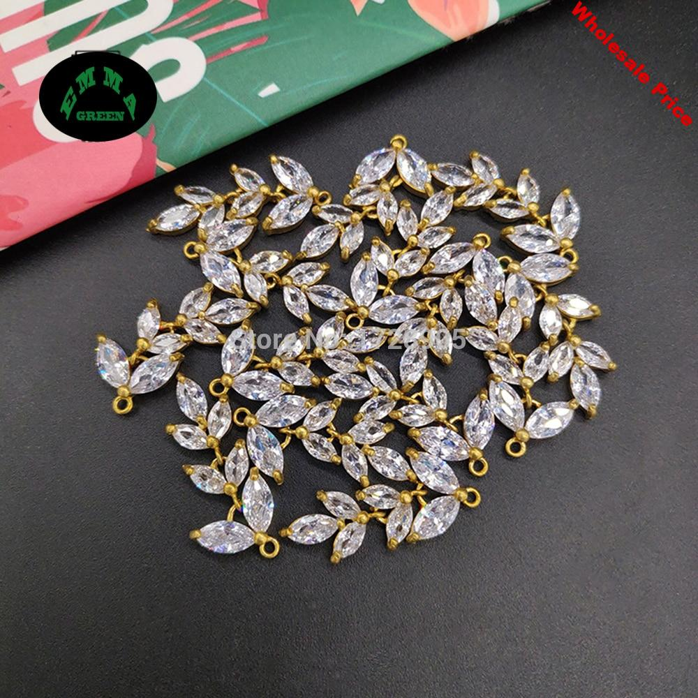 Charms for Jewelry making Leaf Charms 10pcs Flower Charms Zircon Charms Dangle Charms Pendant Crystal Charms for Bracelets Charm