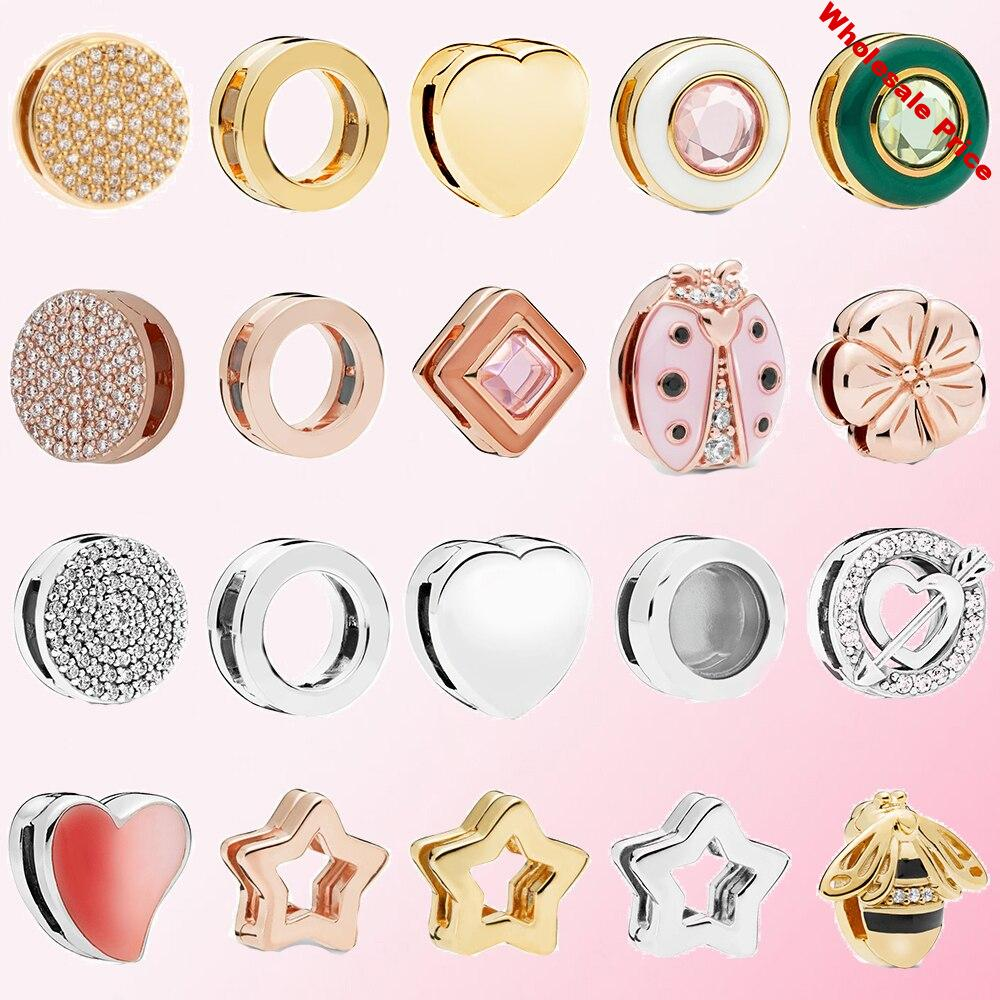 2019 100% 925 Sterling Silver Reflexions Queen Bee Flower Fan Ladybug Circle Square Love Women Glamour DIY Bracelet Safety Clip