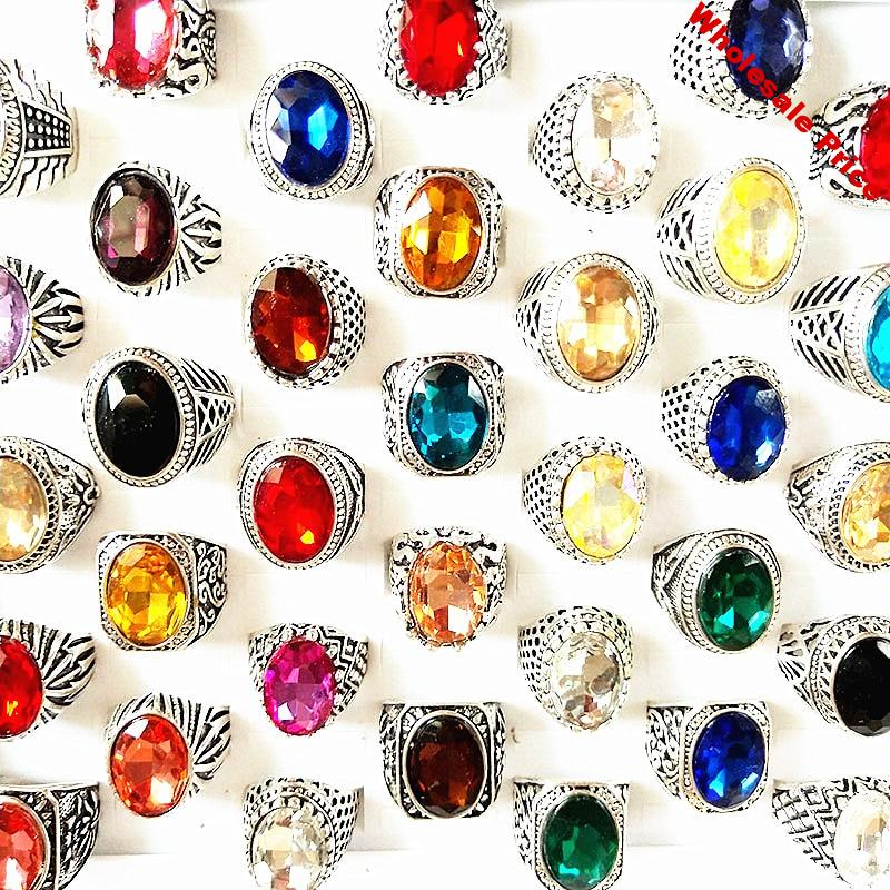 MixMax 50pcs/lot Mix Styles Vintage Jewelry Silver Plated Big Stone Rings for Men Women Ring Party Gifts Wholesale dropshipping