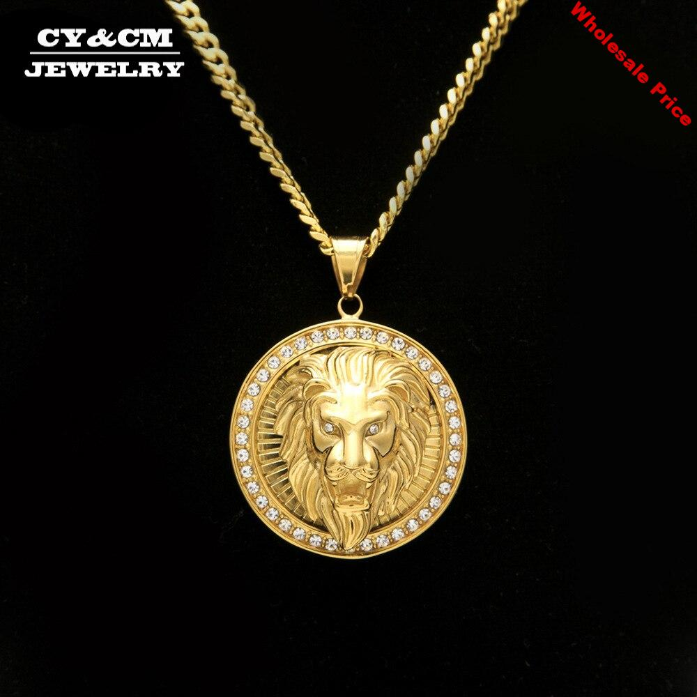 CY&CM Men Women Hiphop Round Lion head Pendant Bling Stainless Steel Iced Out Rhinestone Animal Gold Necklace Chain Punk Jewelry