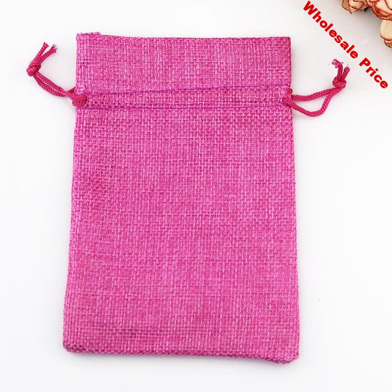 wholesale 50pcs/lot Hot Pink linen jute bag 7*9cm small drawstring pouch charms jewelry packaging bags cute Wedding gift bag