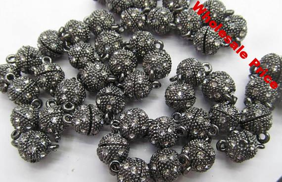 12pcs gunmetal pave bing crystal Clasps Magnetic Jewelry Clasp Round Ball rose gold antique silver Gunmetal Connector 8-16mm