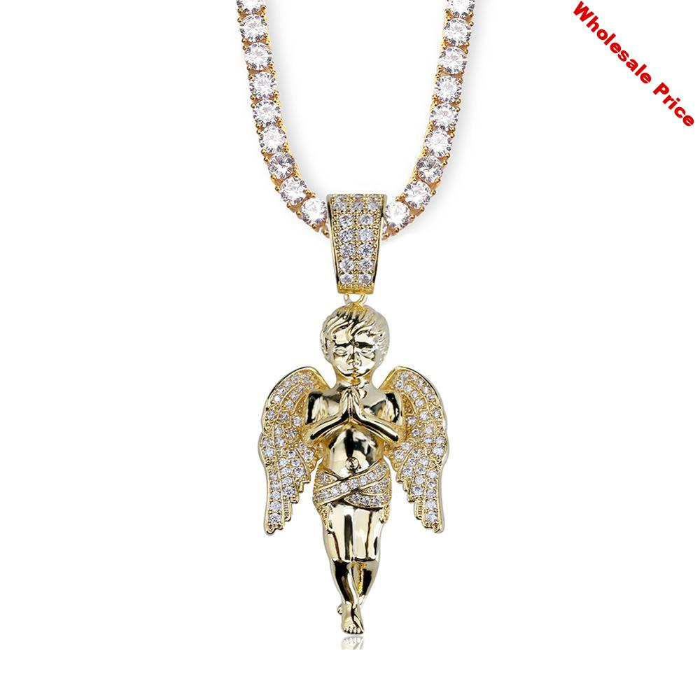 Hip Hop Men Women Pendant Necklace Gold Color Plated Iced Out Micro Pave CZ Stones Angel Pendants Necklaces Lover's Gift Bling