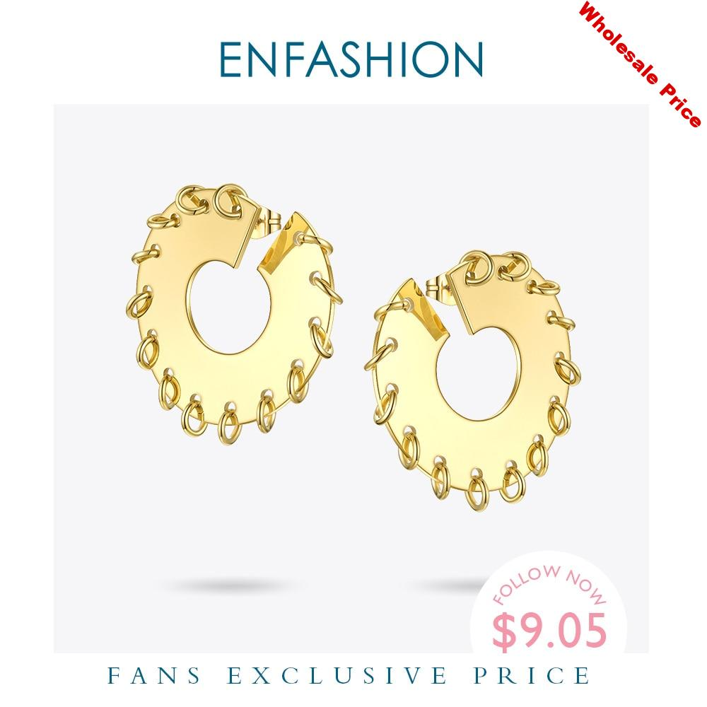 ENFASHION Punk Circle Stud Earrings For Women Stainless Steel Gold Color Statement Cool Earings Fashion Jewelry 2020 Gifts E1161