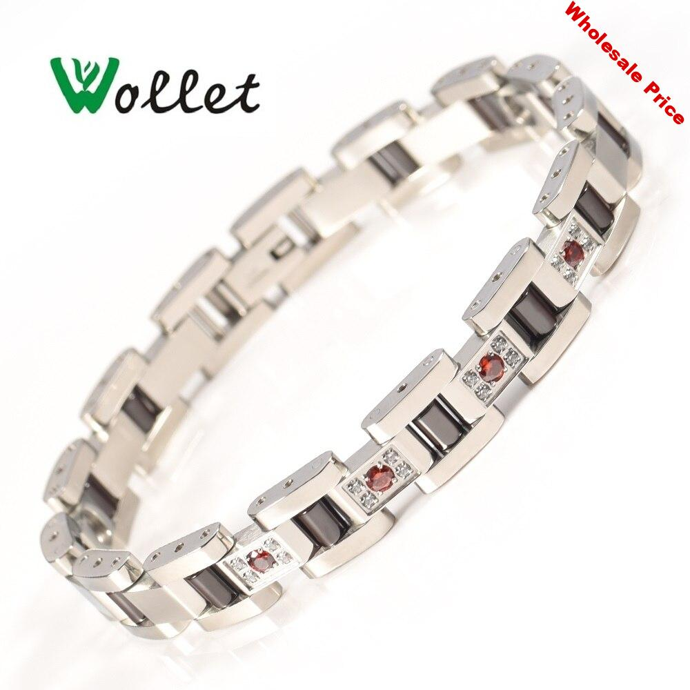 Wollet Jewelry 99.999% Germanium Red CZ Stone Black Ceramic Stainless Steel Bracelet Bangle For Women Rose Gold Silver Color