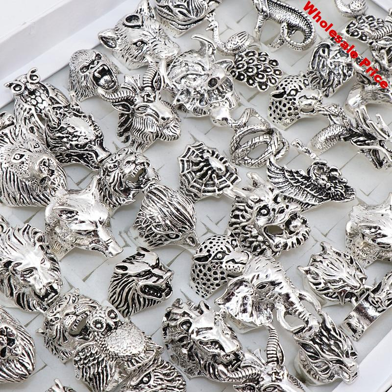 Wholesale 20pcs/Lots Mix Snake Owl Dragon Wolf Elephant Tiger Etc Animal Style Antique Silver Jewelry Rings for Men Women