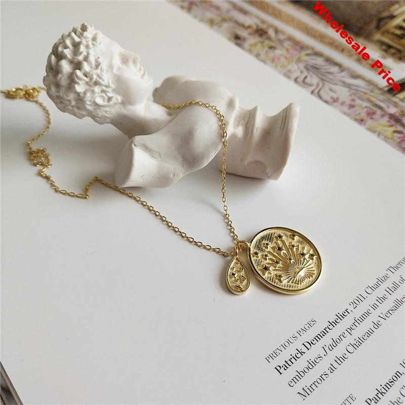 Gold Color Coin Saturn Star Pendant Choker Necklaces 925 Sterling Sliver Oval Double Pendants Necklaces Boho Layered Choker