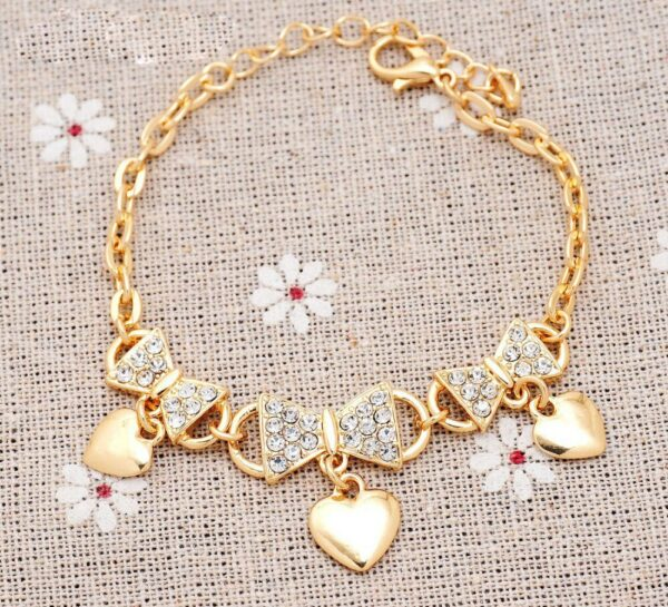 Classic Love Heart Charm Bracelets for Women CZ Crystal Bowknot Chain Cuff Bracelets Bangles Party Bridal Jewelry Christmas Gift