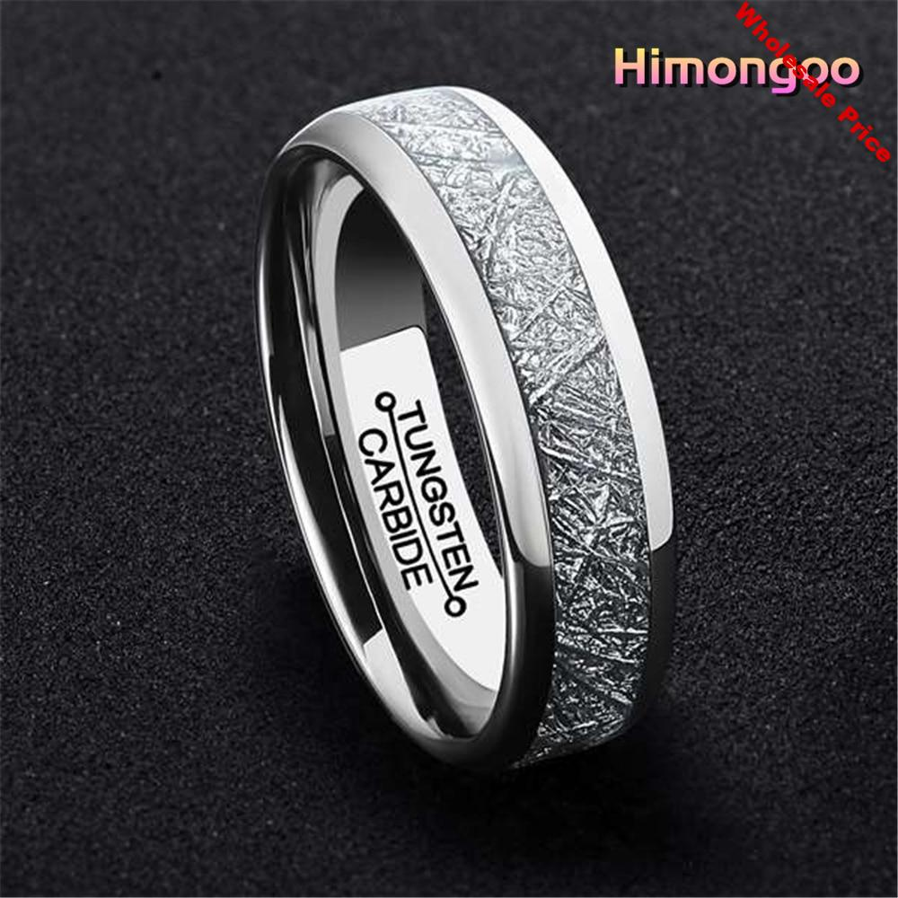 HIMONGOO 6MM Silver Mens Tungsten Carbide Ring Middle Inlaid Meteorite Paper Polishing Wedding Band Engagement Anniversary Gift