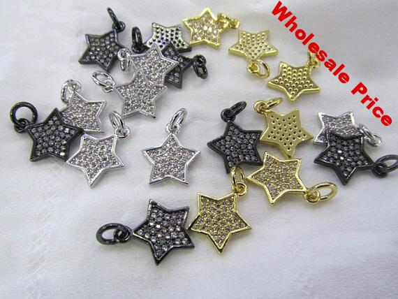 12pcs Bling Pave Micro Pave Diamond gunmetal Jewelry star Gold Silver Jewelry beads connector finding earrings 12-20mm