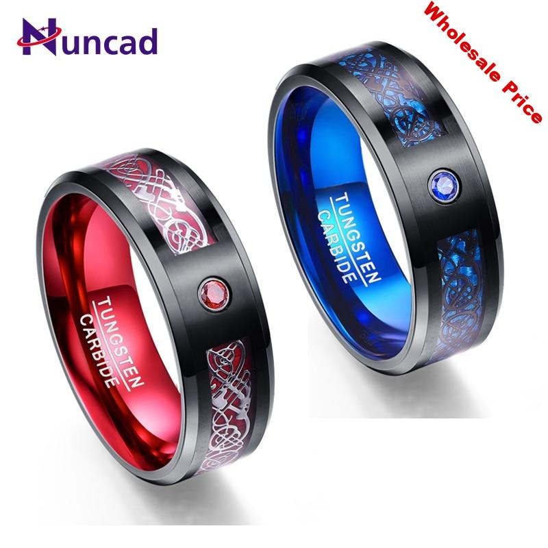 Nuncad 8mm Men's Ring Tungsten Carbide Ring Wedding Band Celtic Dragons Red Green Blue Carbon Fiber Tungsten Ring Comfort Fit