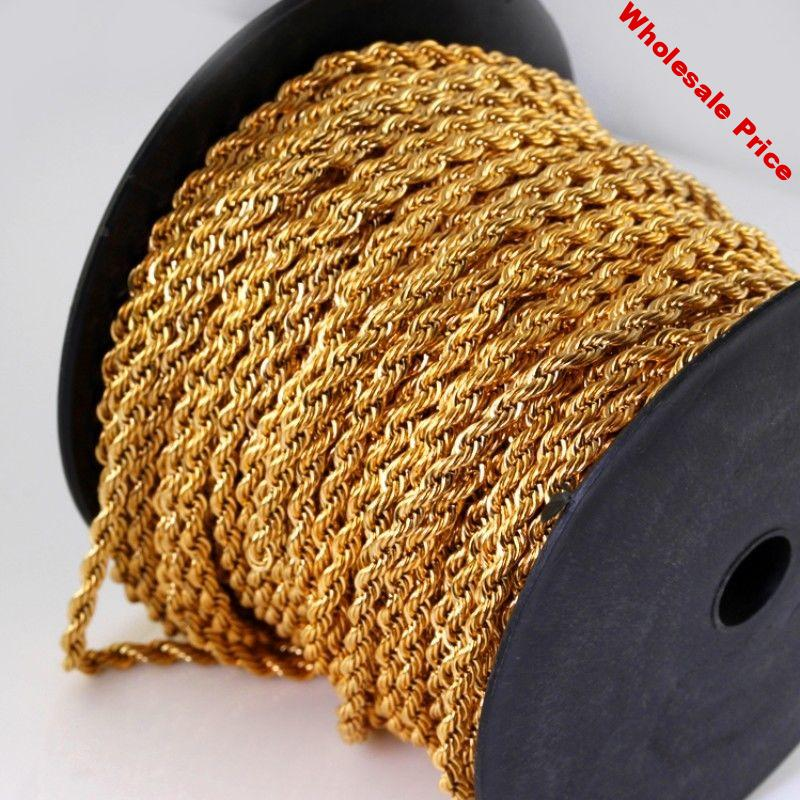 20 Meter Width 3.8mm Stainless Steel Rope Chain Gold Necklace Statement Swag 316L Stainless Steel Necklace Gold Chain