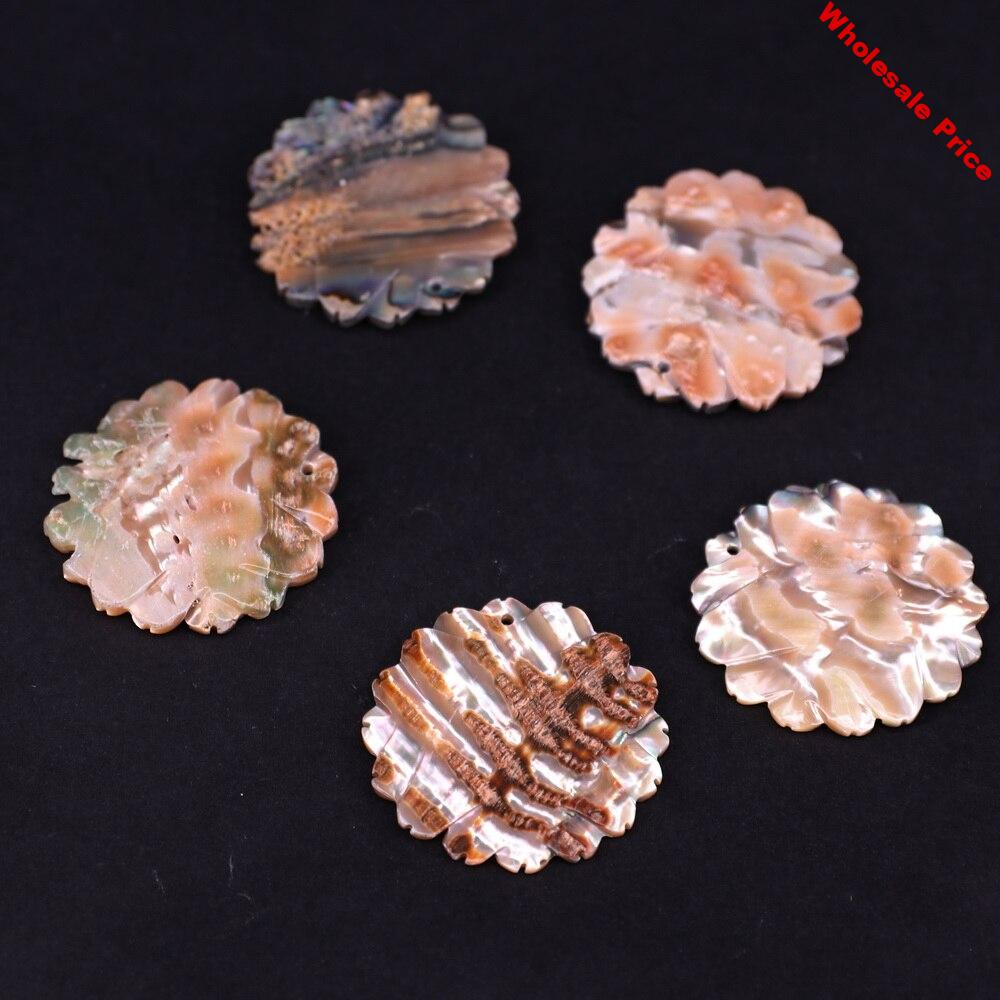 35mm abalone shell paua shell carve chrysanthemum shape for jewerly making earring material necklace pendant