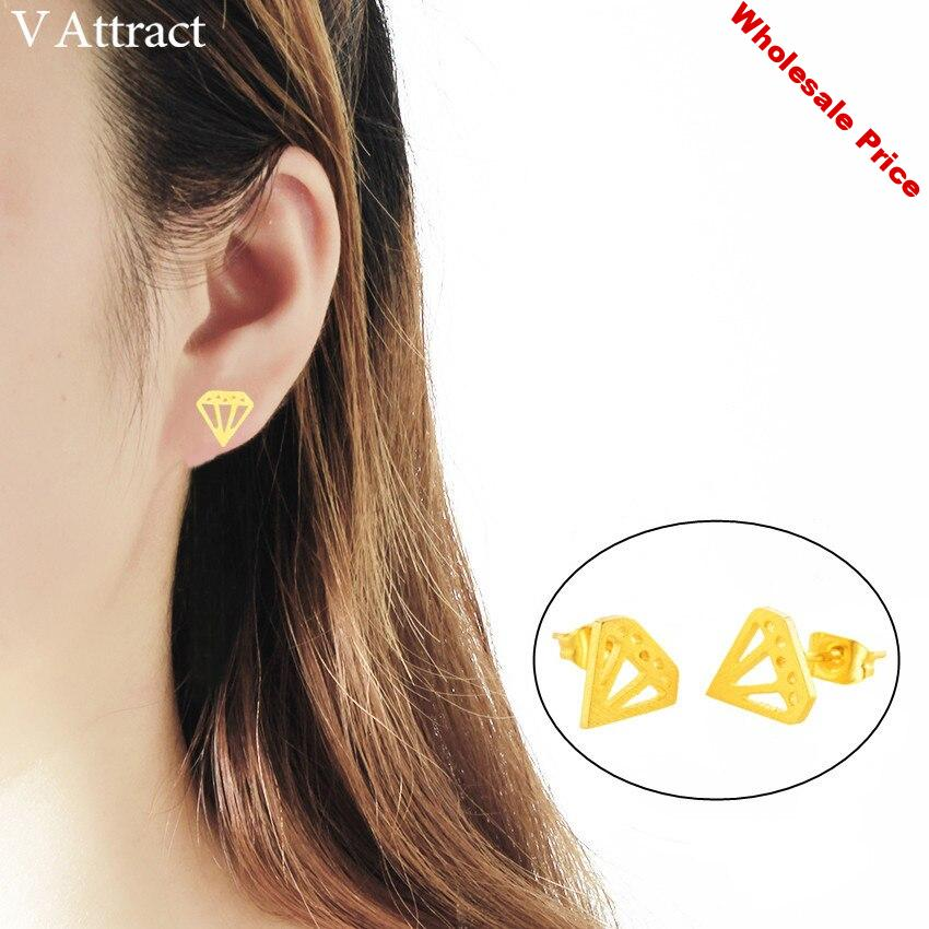 V Attract 10 pairs Geometric Stainless Steel Brincos  Rose Gold Cone Shape Stud Earrings for Women Boho Jewelry