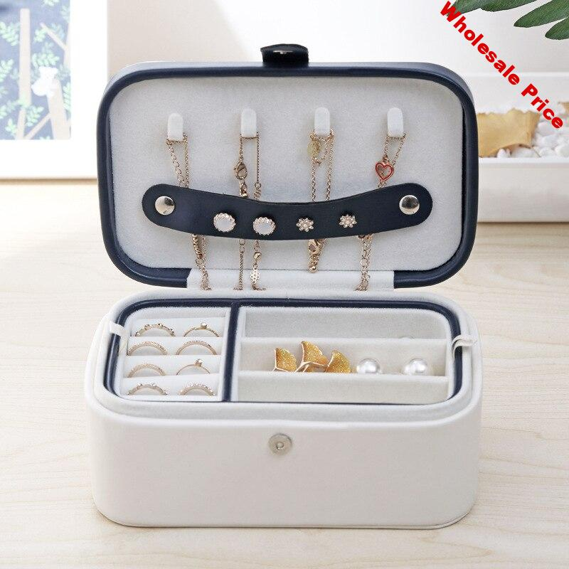 Jewelry Box Korean Style Fresh And Simple Girl Earrings Plate Protable Leather Earrings Ring Multi-function Jewelry Storage Box