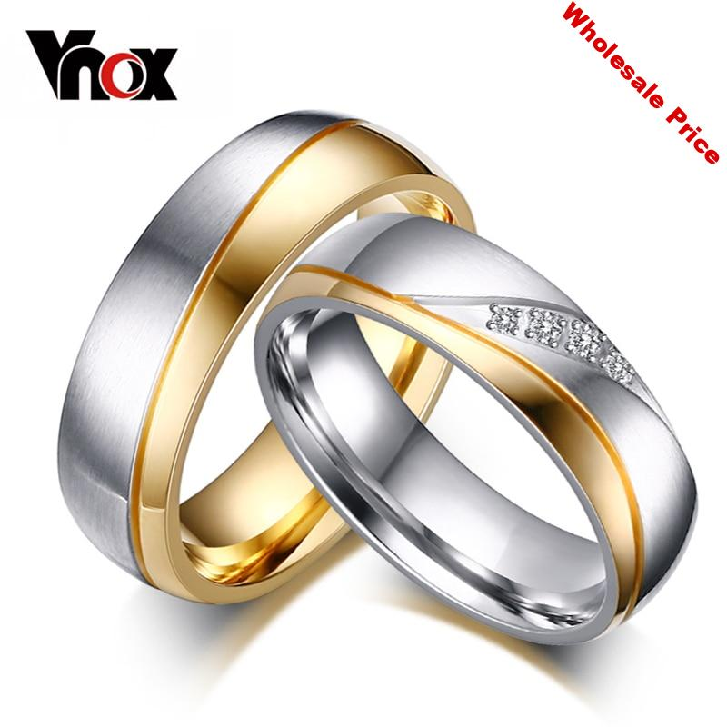 Vnox 10pcs/lots Wholesale Wedding Rings for Couples Classic Stainless Steel Jewelry Provide Mix Size