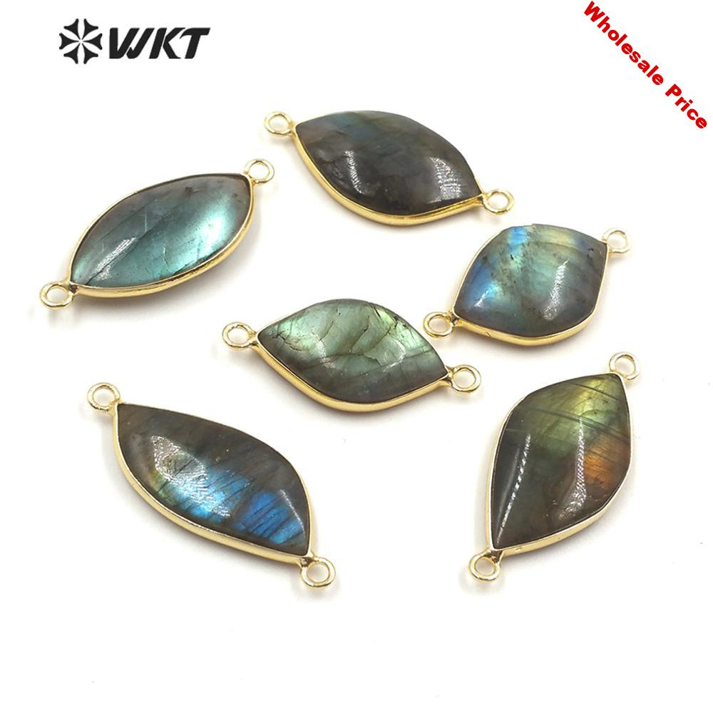 WT-C292 WKT  Stone Connectors Labradorite Connector Gold Electroplated Leaf Shape Fashion Connectors Pendant For Jewelry Making