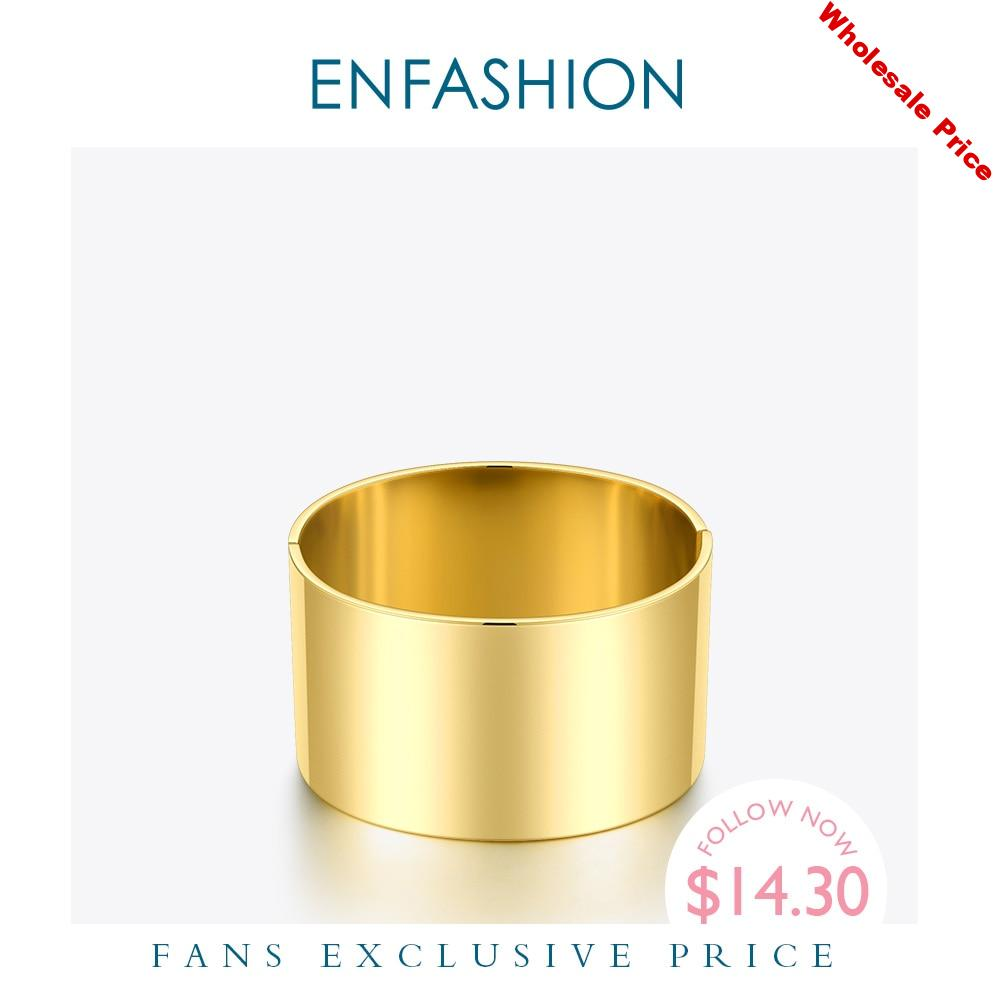 ENFASHION Wide Smooth Bangles Minimalist Stainless Steel Gold Color Bracelets For Women Accessories Fashion Jewellery 2020 B2079