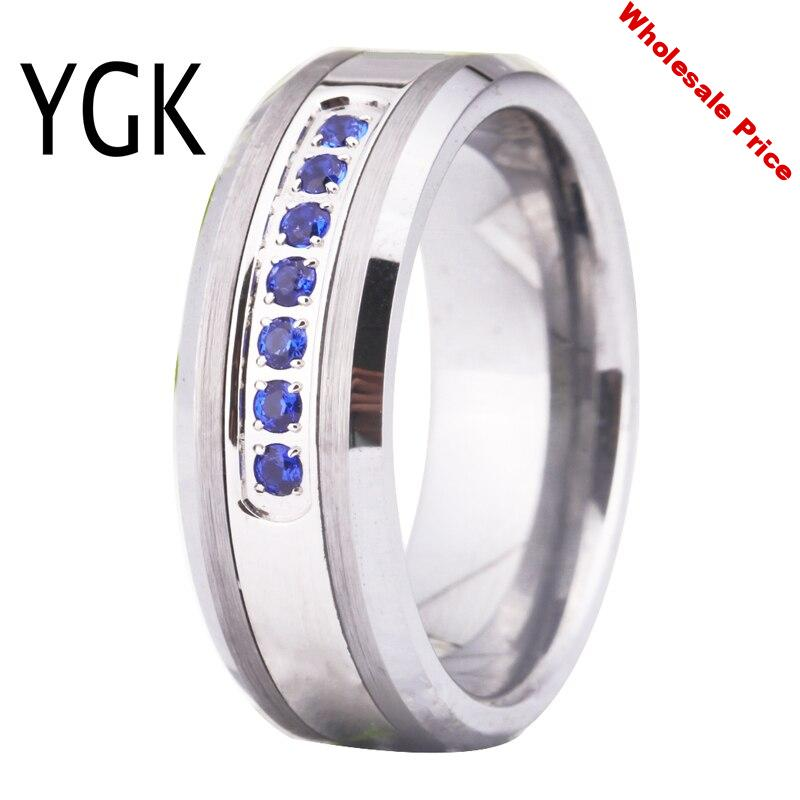YGK Brand Jewelry Hot Sales 8MM Silver Beveled With Matte Surface and 7 Sapphirine CZ Stones Tungsten Ring For Wedding