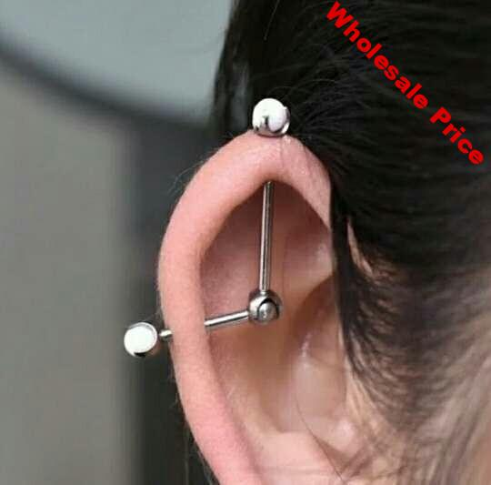 Newest G23 titanium 14G internally thread adjusted Opal industrial Barbell Daith tragus Catrilage Conch Helix Earring Piercing