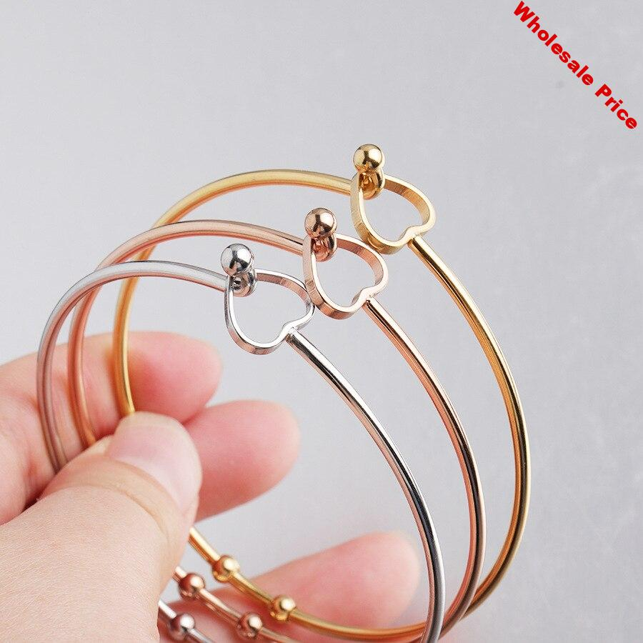 100% Stainless Steel Wire Expandable Bracelet Base Adjustable Bangle Heart Metal Open Cuff Bangle 60mm 10pcs