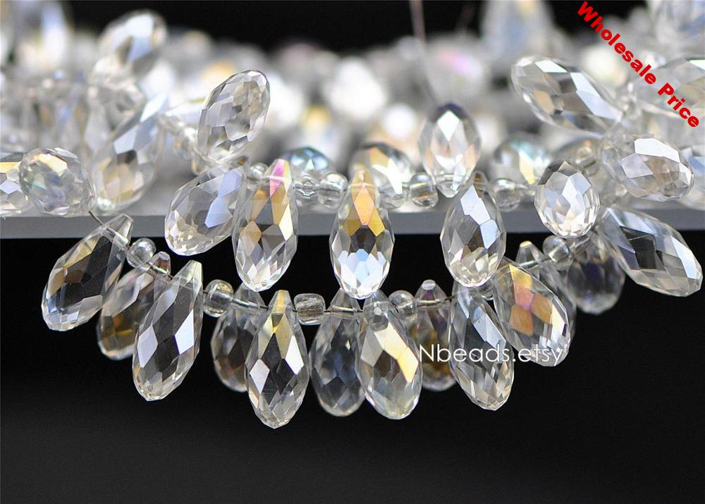 95pcs Teardrop Crystal Faceted beads 17x8mm