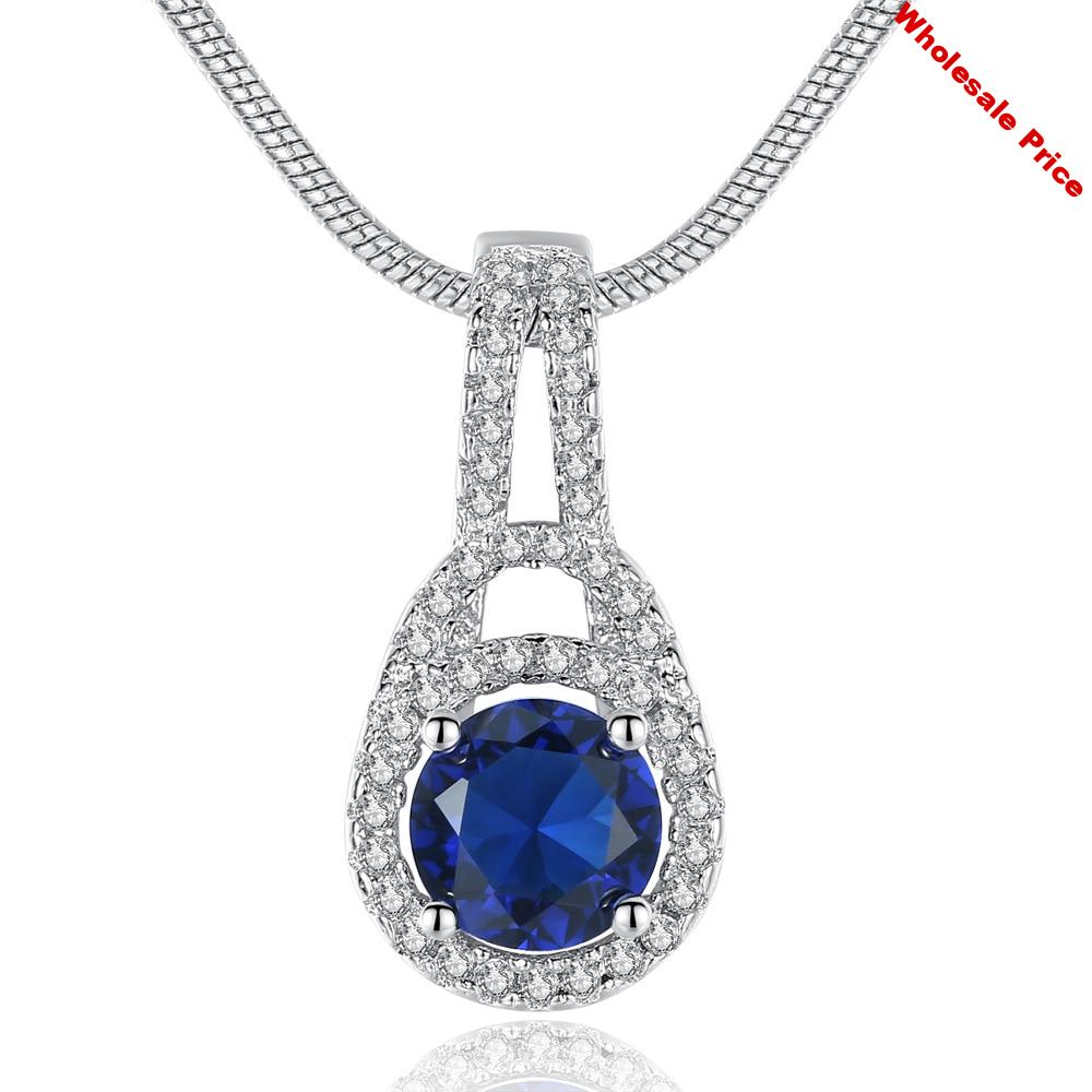 YTF1330   925 Sterling Silver micro setting zircon Blue Crystal women's Pendant Necklace
