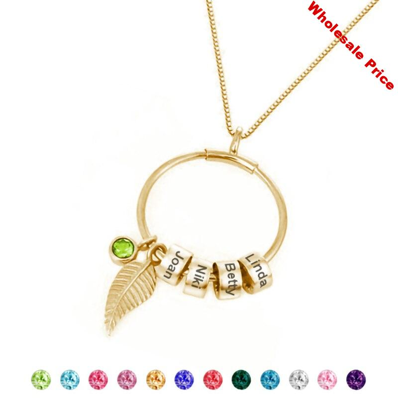 Personalized Women Pendant Necklace Mother's Gift Girl Jewelry Custom Engraved Family Name Initial Beads Necklaces Gold Choker