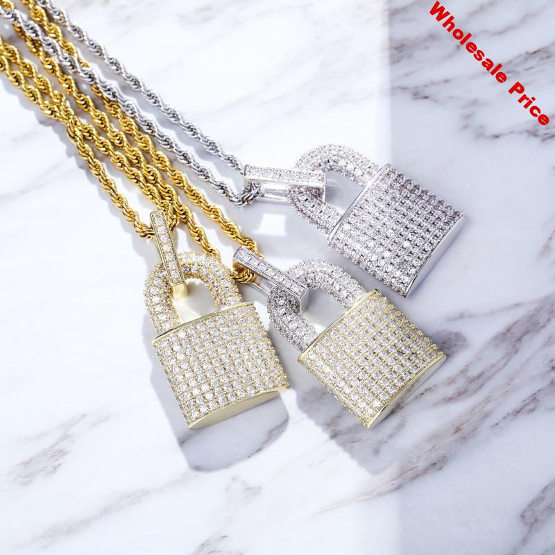 Hip Hop Micro Paved AAA Cubic Zirconia Bling Iced Out Lock Pendants Necklace for Men Rapper Jewelry Drop Shipping