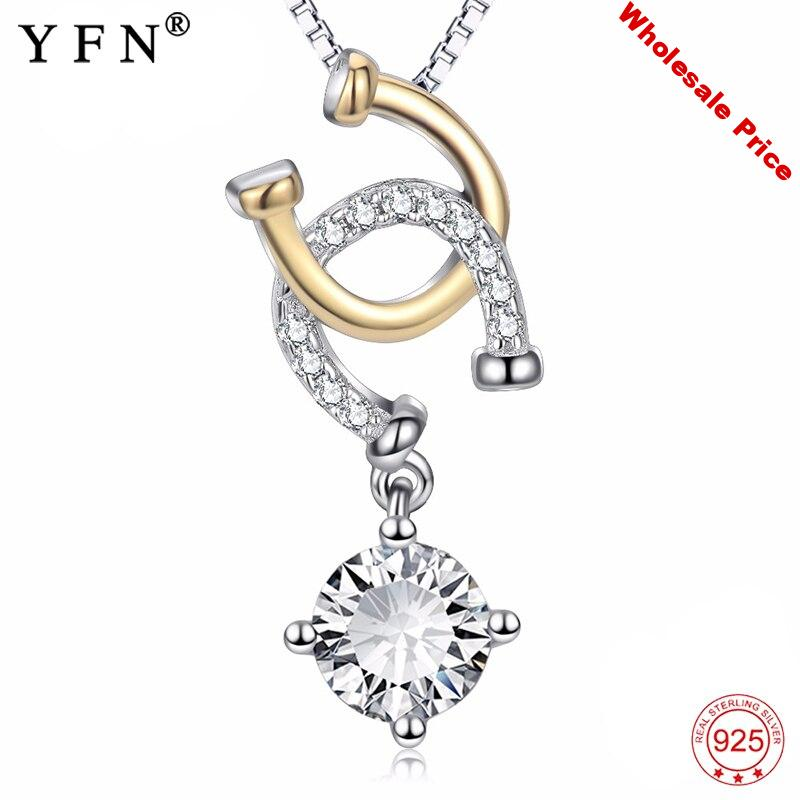 YFN 925 Sterling Silver Horse Hoof Necklace Cubic Zirconia Horseshoe Double U Pendants Necklaces Fashion Jewelry Christmas Gifts