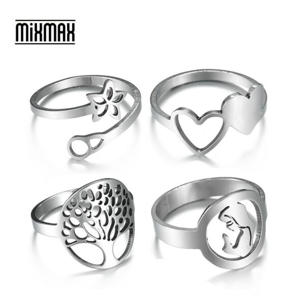 MixMax 50pcs Mix Styles Top Women's Stainless Steel Rings Finger Band Ring Party Jewelry Wholesale Lot