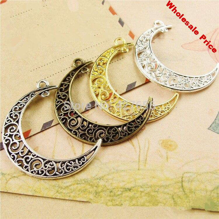 Free Shipping 100pcs Moon Two Hole Connector Pendant Charm/Finding