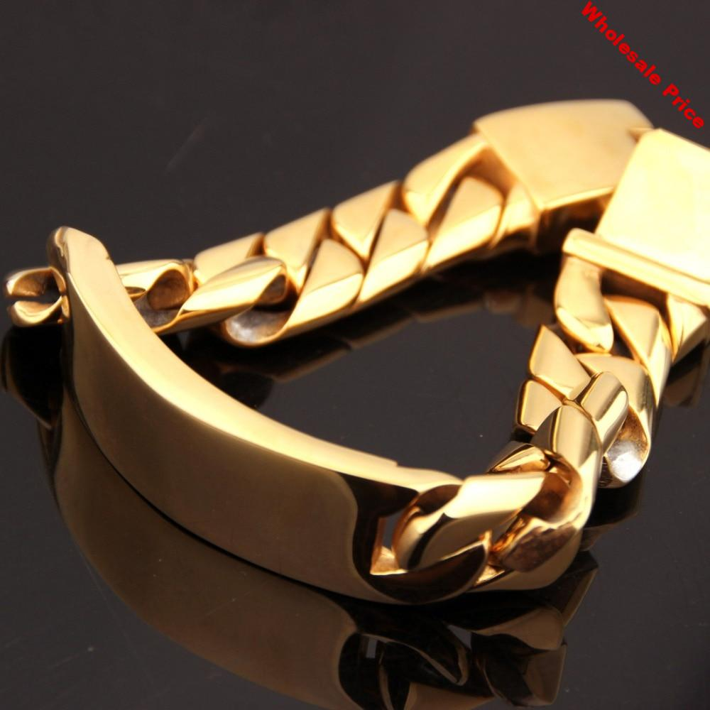 17mm Huge Heavy Stainless Steel Gold Tone Jewelry ID Bracelet Miami Cuban Curb Chain Men's Boys Wristband Bangle Hombres Pulsera