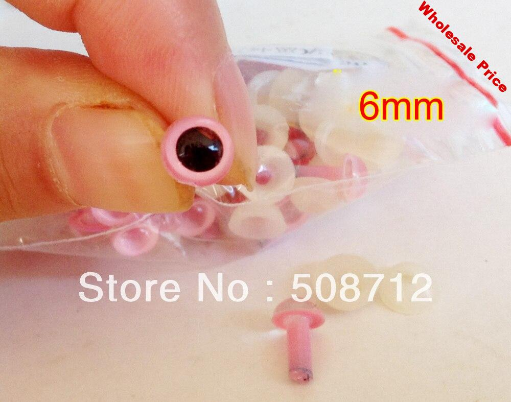 Free shipping!!!!DIY felt toy ------200pcs 6mm pink Plastic Safety Eyes With Safety back /pink pupil toy eyes