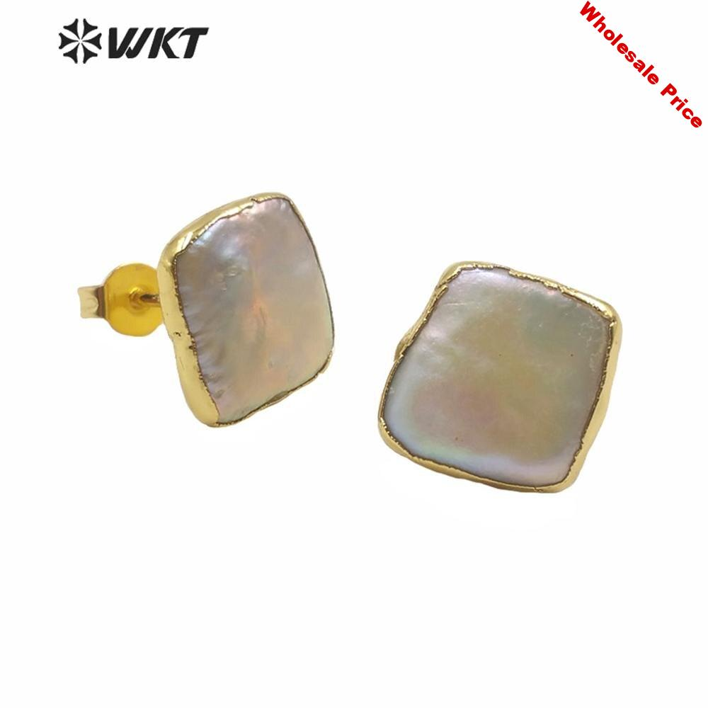 WT-MPE027 New hot 12mm hot natural freshwater pearl studs tiny gold trim square pearl studs for women birth gift earrings studs