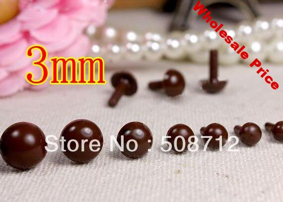Free shipping!!!!300pcs mini 3mm brown Plastic Safety Pin Eyes Stuffed Wool Felted Animals Dolls/brown eyes beads