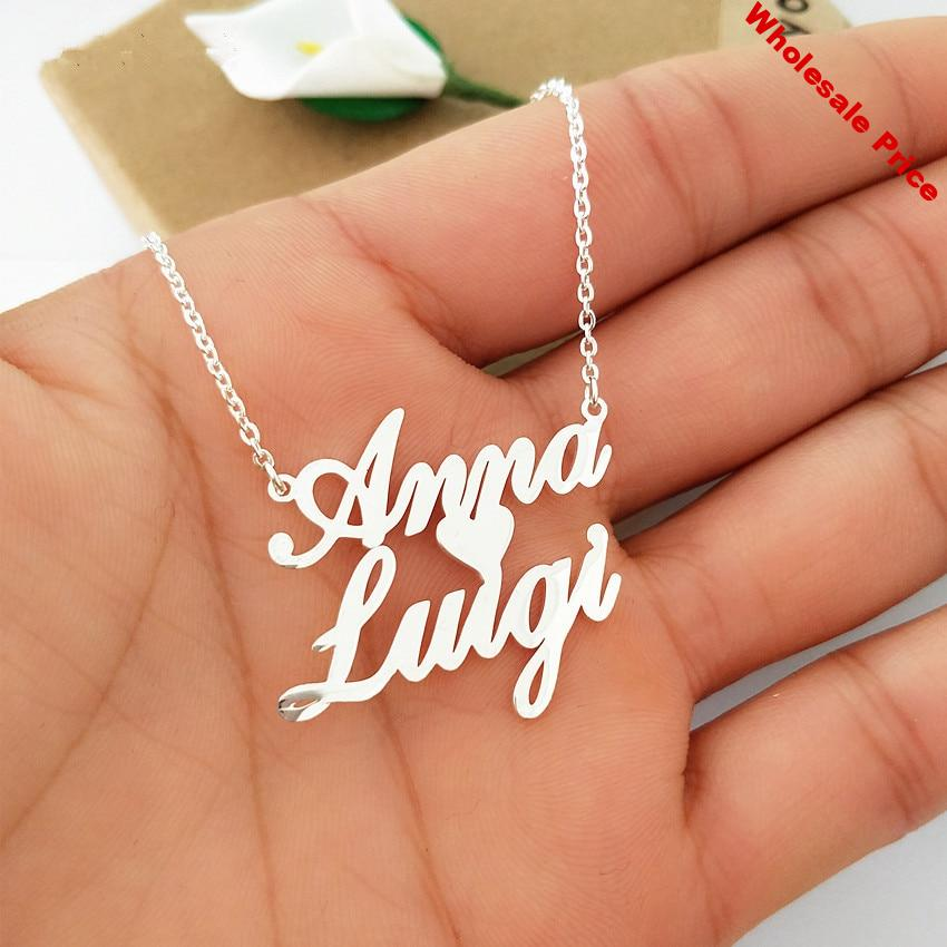 vintage Custom Double Names Necklace  Love Heart Chokers Necklaces Handwriting Nameplate Couple Jewelry Gift BFF