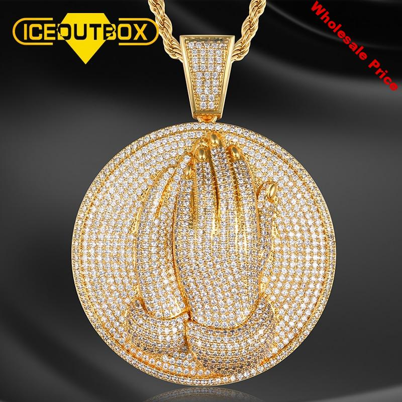 The Pray Hands Pendants Necklaces Round Bible Verse Prayer CZ Necklace Alloy Hip Hop Men Chain Jewelry Full Of Rhinestone Gift