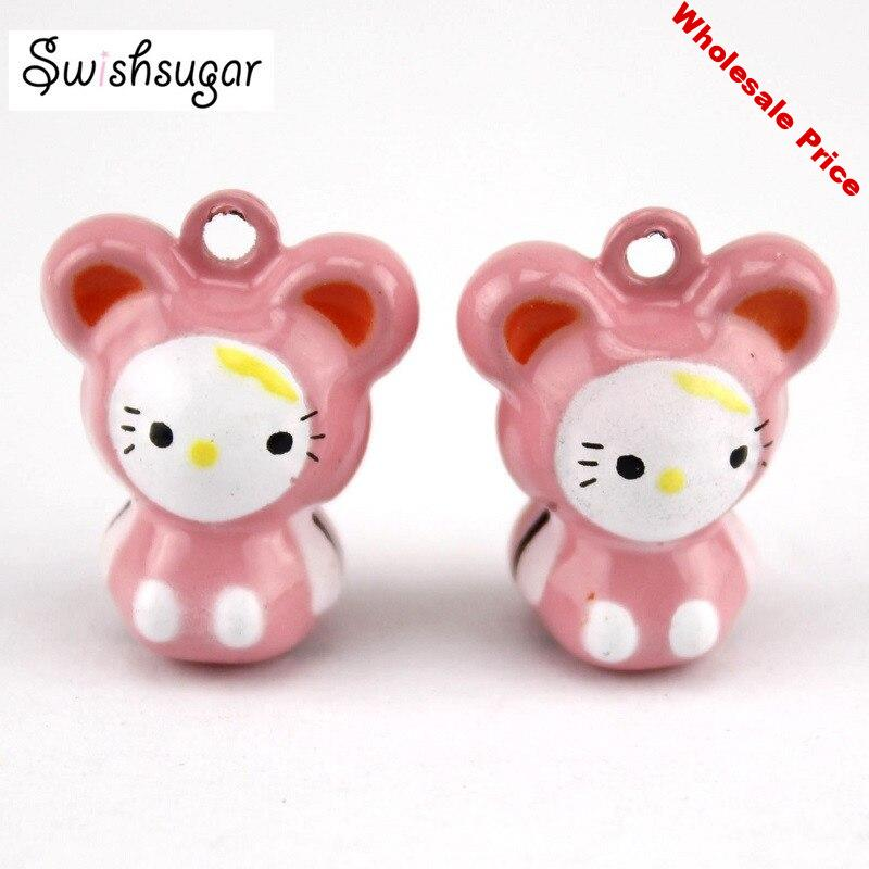 Pinky Cute Cat Cartoon Jingle Bell Charms Pendant Jingle Bell Party Holiday Festival Decoration
