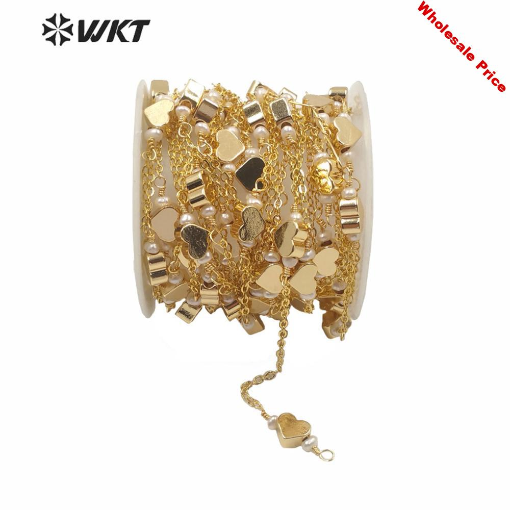WT-RBC168 Gold electroplated heart charms chain women brass hand make spacer beads charm chain for jewelry design chain