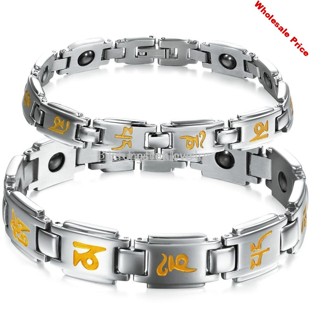 Sixth mantra 316L Stainless Steel Chain Link Bracelet Healthy Magnetic Stone Mantra Engraved On Chain For Couples