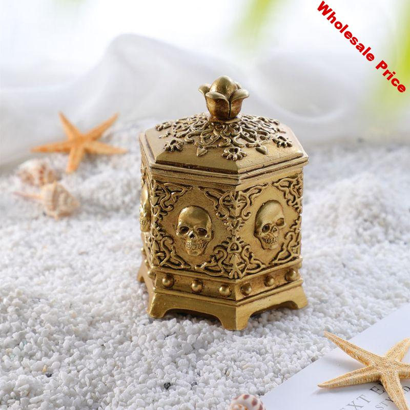 Vintage Skeleton Skull Jewelry Box Hexagon Necklace Ring Chain Case with Dust Cover Desktop Home Decoration