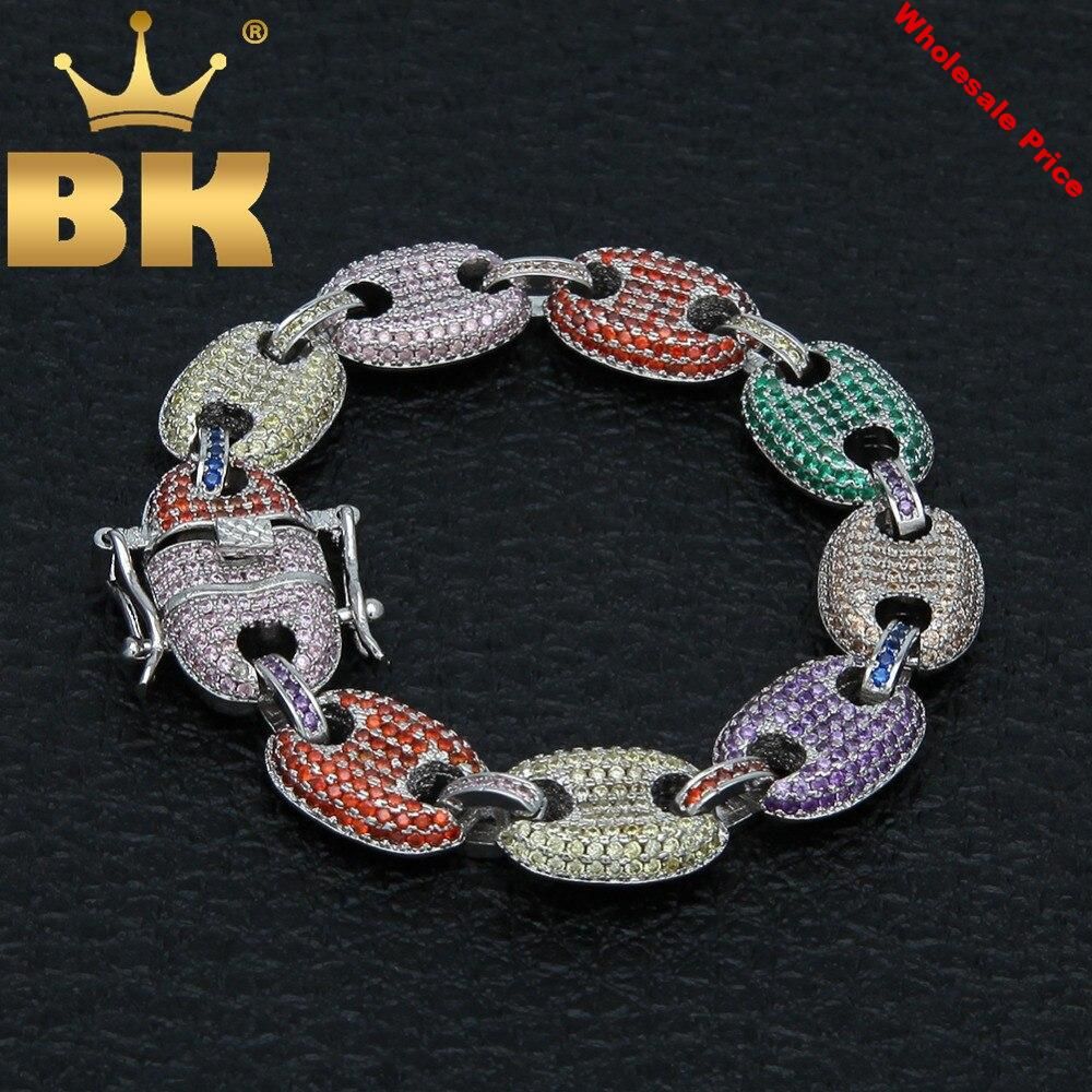 Hiphop 13mm Puffed Marine Chain Fat Links Bracelet Men Micro Pave Rainbow Colored Cubic Zirconia Gold Color Jewelry