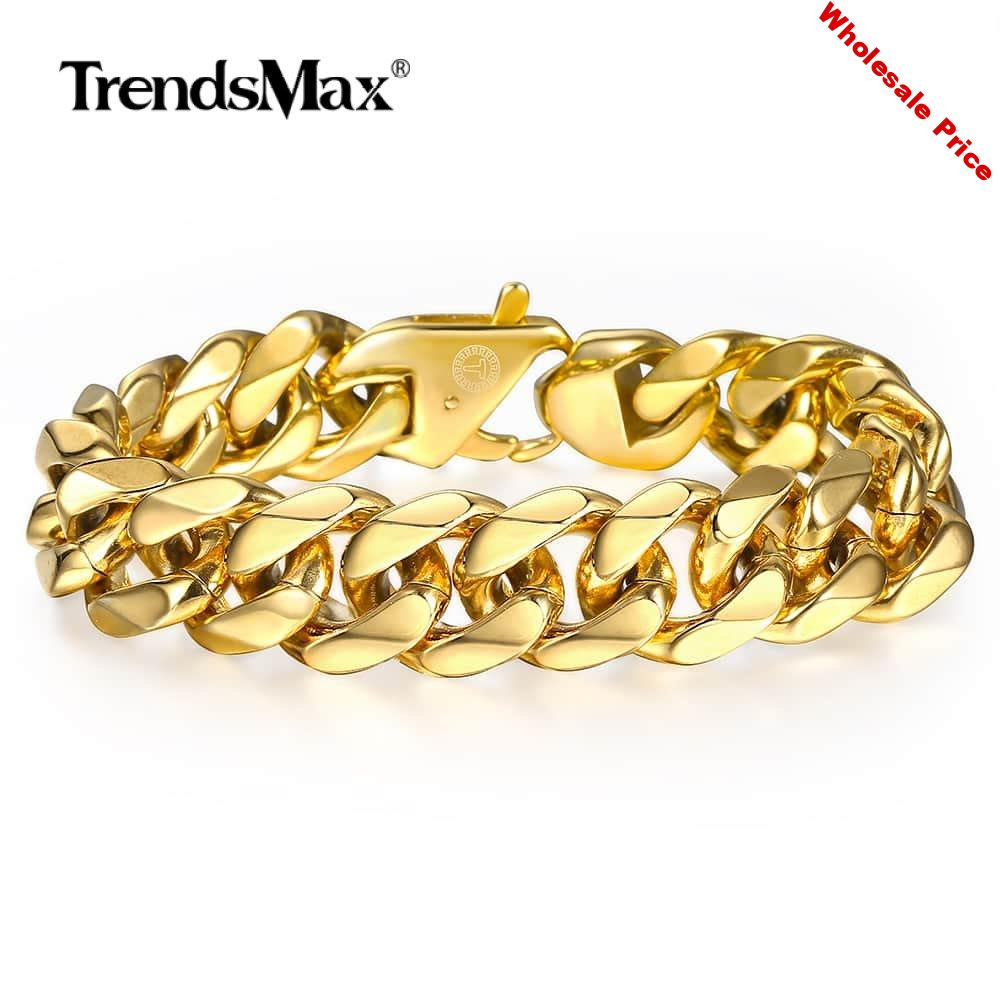316L Stainless Steel Cuban Curb Bracelet for Men Boy 15mm Heavy Chain Link Bracelet Gold Filled Dropshipping Jewelry 7-9'' HB506