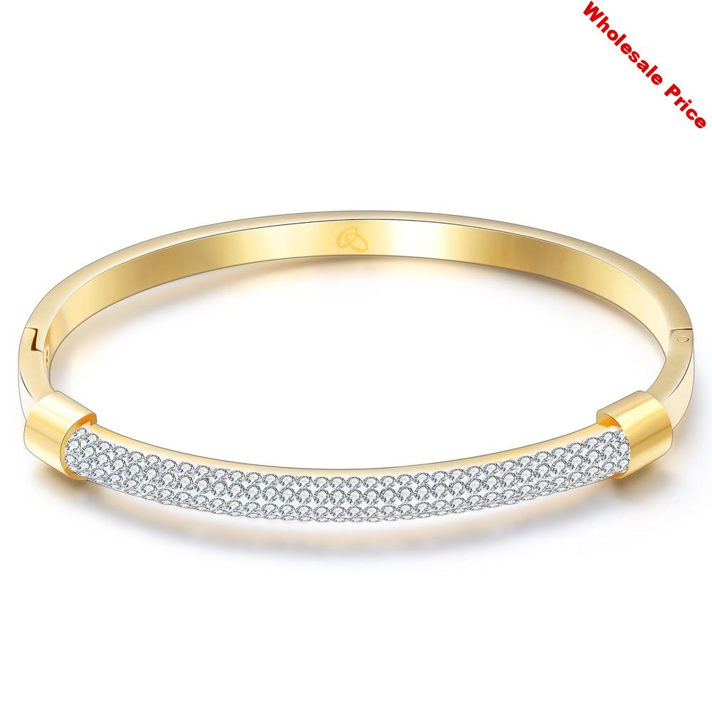 CL-79 Fashion Gold Bracelet Bangles Femme Crystal Jewelry Stainless Steel Cuff Bangles For Women Charming Cz Bracelets Bangle
