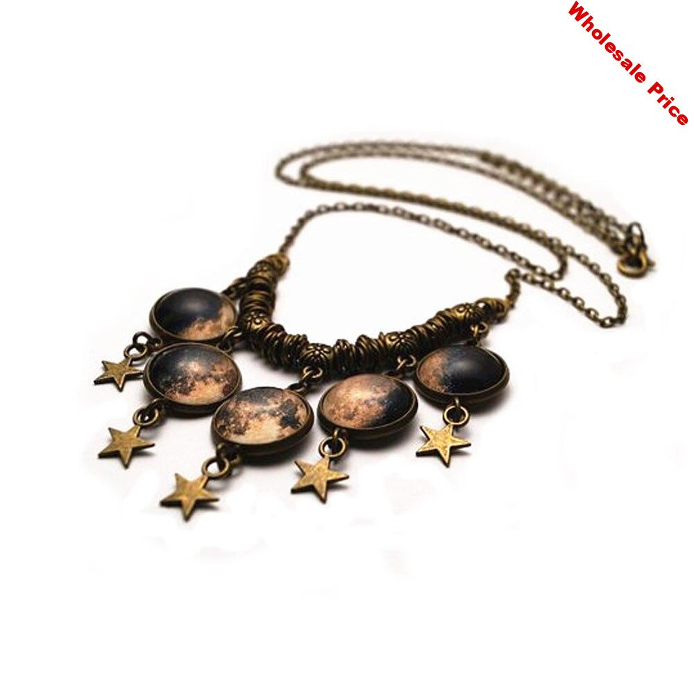 12pcs/lot Moon Phase Necklace with star charm jewelry bronze tone