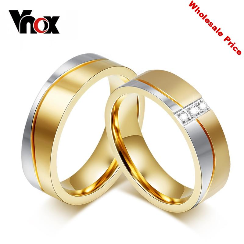 10pcs/lots Wholesale Stainless Steel Wedding Ring for Couples Gold Color Provide Mix Size