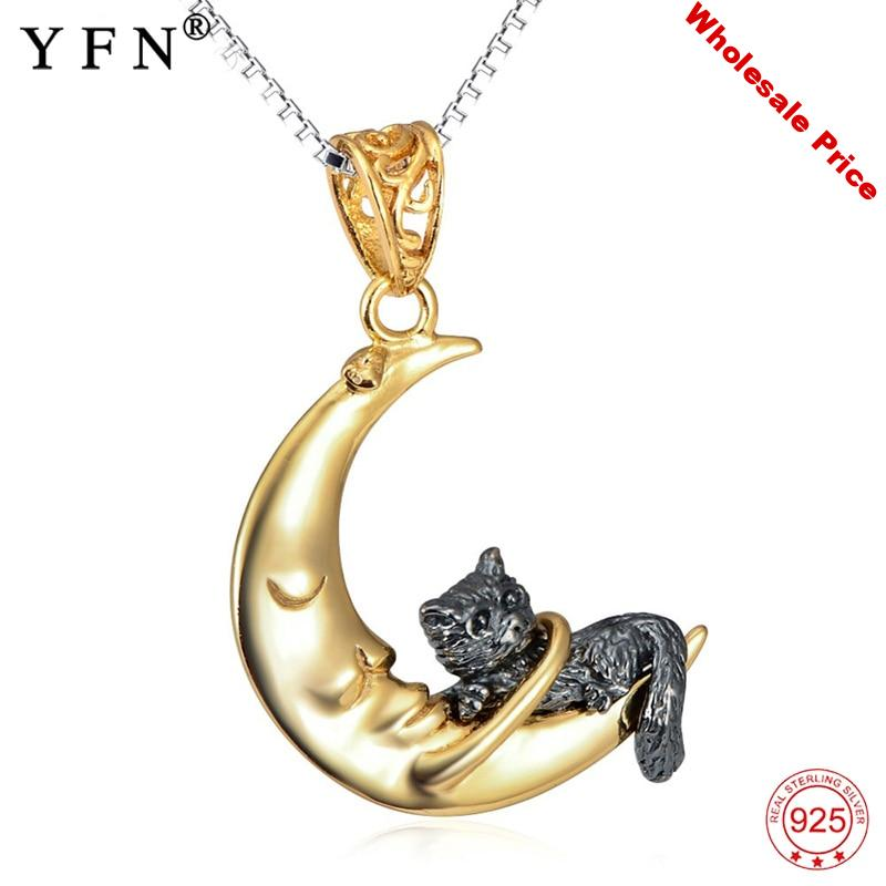 YFN 925 Sterling Silver Necklace Jewelry Lovely Cat & Moon Pendant Necklaces Vintage Classic S925 Necklace For Women Girl's Gift