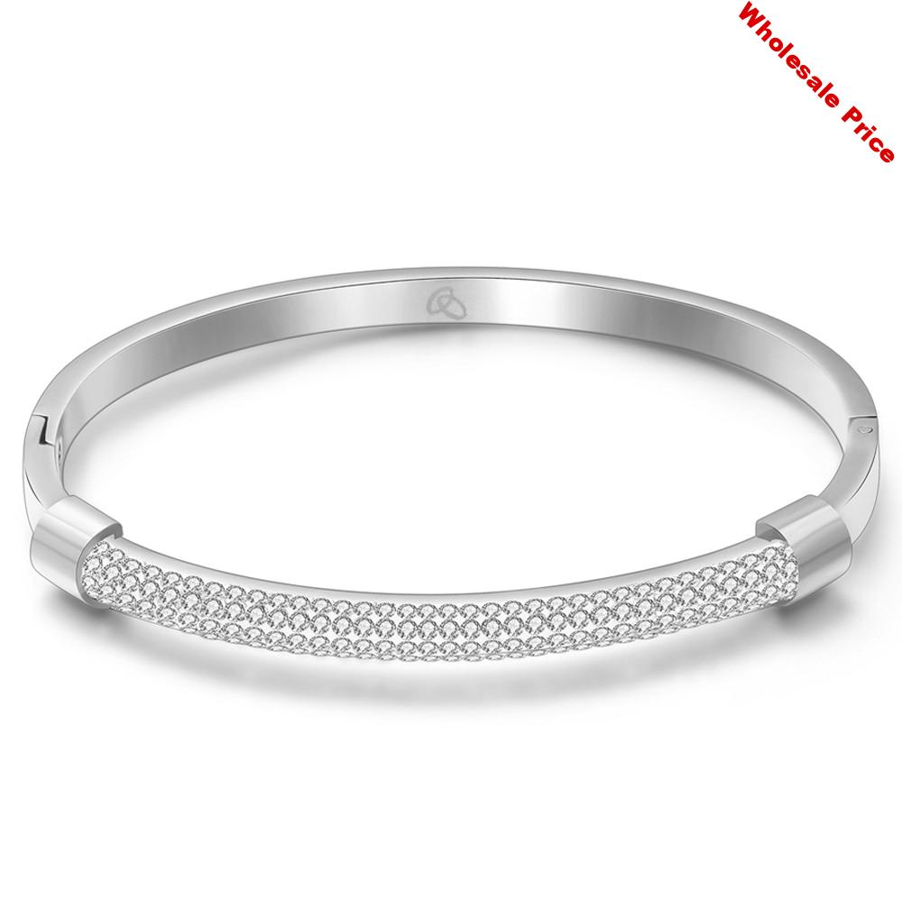 CL-219 Fashion Gold Bracelet Bangles Femme Crystal Jewelry Stainless Steel Cuff Bangles For Women Charming Cz Bracelets Bangle