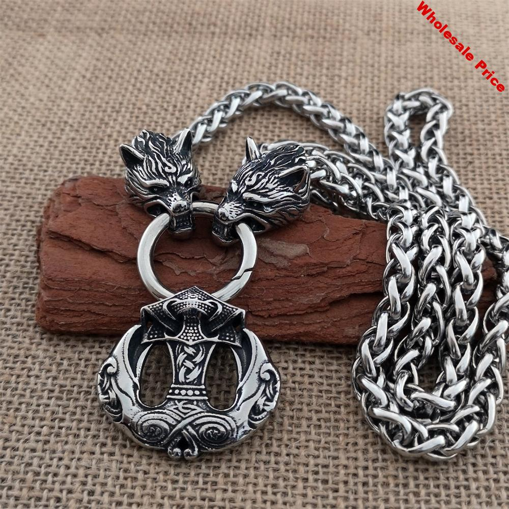 Men Viking Raven Pendant Necklace Stainless Steel Wolf Head Titanium Steel Chain Necklace Men's Hip Hop Exaggerated Jewelry